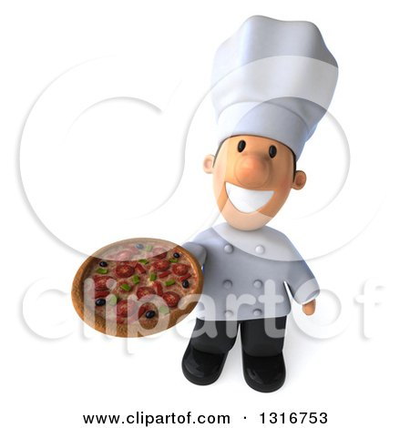 Clipart of a 3d Short White Male Chef Holding up a Pizza - Royalty Free Illustration by Julos