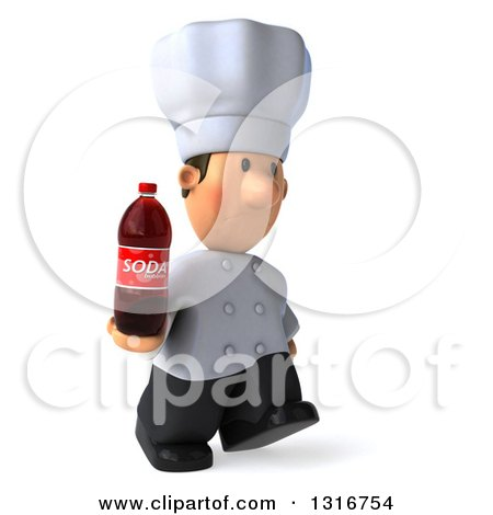 Clipart of a 3d Short White Male Chef Walking to the Right with a Soda Bottle - Royalty Free Illustration by Julos