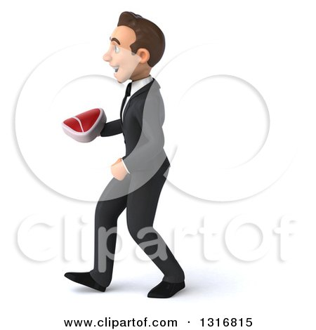 Clipart of a 3d Happy Young White Businessman Walking to the Left and Holding a Beef Steak - Royalty Free Illustration by Julos