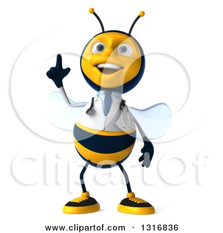 Clipart of a 3d Happy Bee Doctor Holding up a Finger - Royalty Free Illustration by Julos