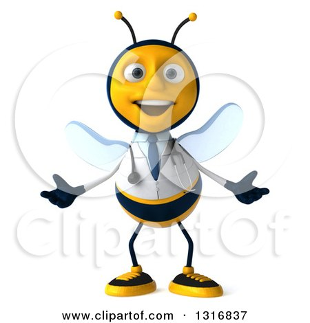 Clipart of a 3d Happy Bee Doctor Welcoming - Royalty Free Illustration by Julos