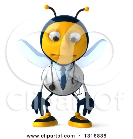 Clipart of a 3d Happy Bee Doctor Pouting - Royalty Free Illustration by Julos