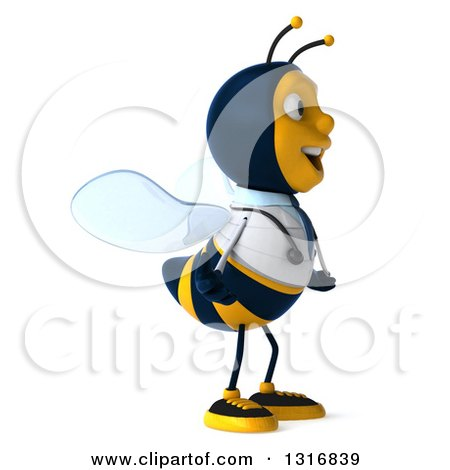 Clipart of a 3d Happy Bee Doctor Facing Right - Royalty Free Illustration by Julos