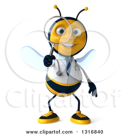 Clipart of a 3d Happy Bee Doctor Searching with a Magnifying Glass - Royalty Free Illustration by Julos