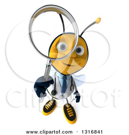 Clipart of a 3d Happy Bee Doctor Searching and Looking up with a Magnifying Glass - Royalty Free Illustration by Julos