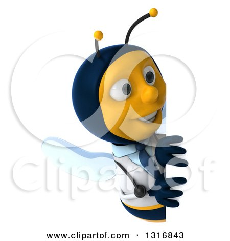 Clipart of a 3d Happy Bee Doctor Looking Around a Sign - Royalty Free Illustration by Julos