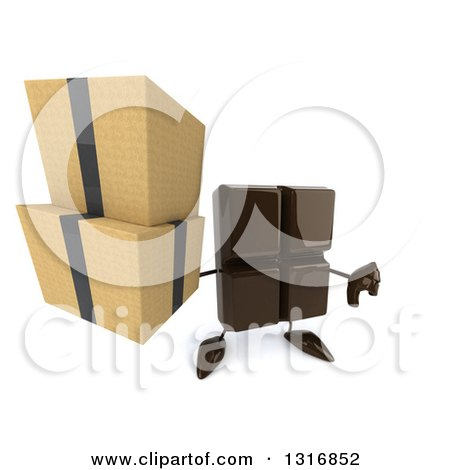 Clipart of a 3d Chocolate Candy Bar Character Holding up Boxes and a Thumb down - Royalty Free Illustration by Julos