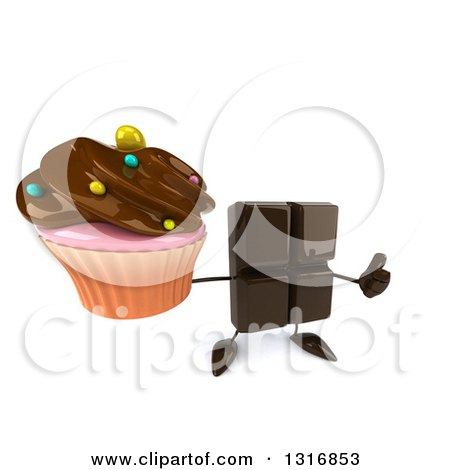 Clipart of a 3d Chocolate Candy Bar Character Holding up a Thumb and a Frosted Cupcake - Royalty Free Illustration by Julos