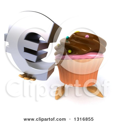 Clipart of a 3d Chocolate Frosted Cupcake Character Holding up a Euro Symbol - Royalty Free Illustration by Julos