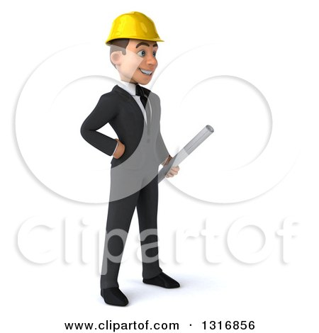 Clipart of a 3d Young White Male Architect Holding Plans, Facing Rigth with One Hand on His Hip - Royalty Free Illustration by Julos