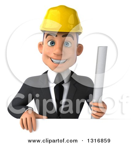 Clipart of a 3d Young White Male Architect Holding Plans over a Sign - Royalty Free Illustration by Julos