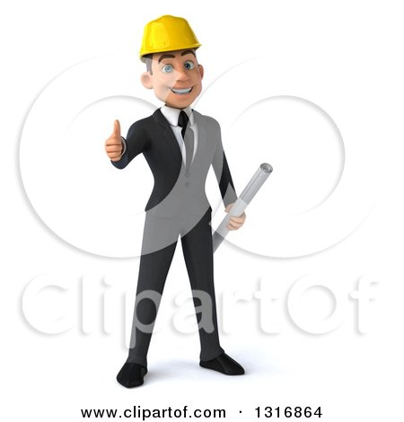 Clipart of a 3d Happy Young White Male Architect Holding Plans and Giving a Thumb up - Royalty Free Illustration by Julos
