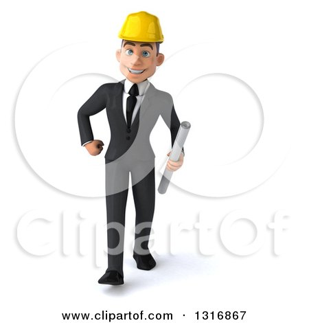 Clipart of a 3d Young White Male Architect Walking and Holding Plans - Royalty Free Illustration by Julos