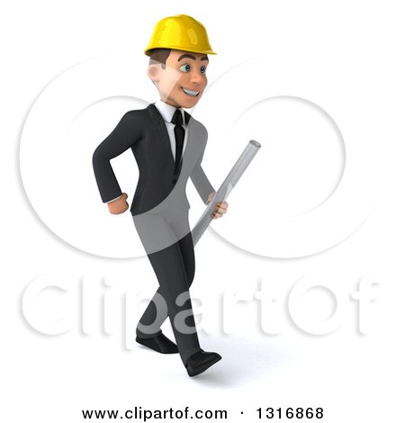 Clipart of a 3d Young White Male Architect Walking Slightly to the Right and Holding Plans - Royalty Free Illustration by Julos
