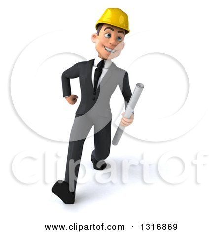 Clipart of a 3d Young White Male Architect Speed Walking and Holding Plans - Royalty Free Illustration by Julos
