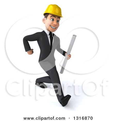 Clipart of a 3d Young White Male Architect Speed Walking to the Right and Holding Plans - Royalty Free Illustration by Julos