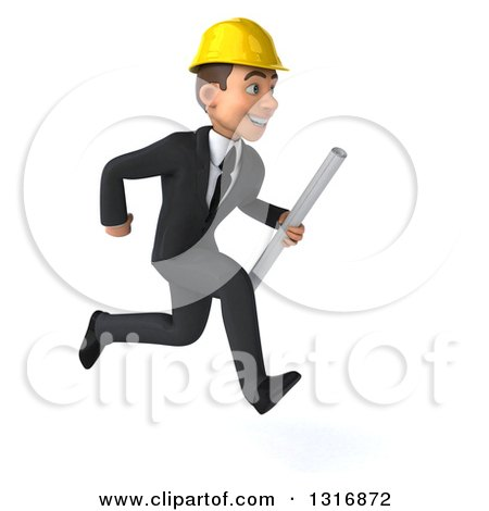Clipart of a 3d Young White Male Architect Holding Plans and Sprinting to the Right - Royalty Free Illustration by Julos