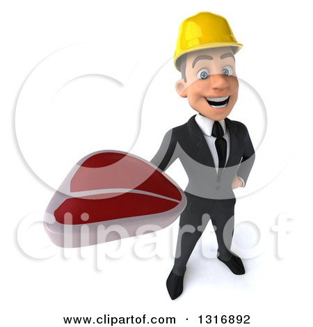 Clipart of a 3d Young White Male Architect Holding up a Beef Steak - Royalty Free Illustration by Julos
