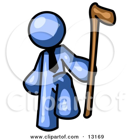 Blue Man Holding a Cane Clipart Illustration by Leo Blanchette