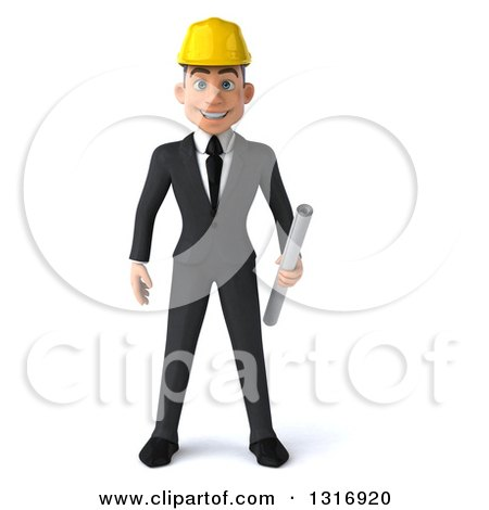 Clipart of a 3d Young White Male Architect Smiling and Holding Plans - Royalty Free Illustration by Julos