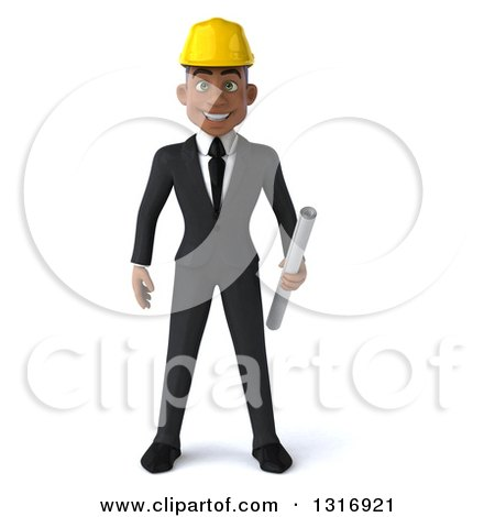 Clipart of a 3d Young Black Male Architect Holding Plans - Royalty Free Illustration by Julos