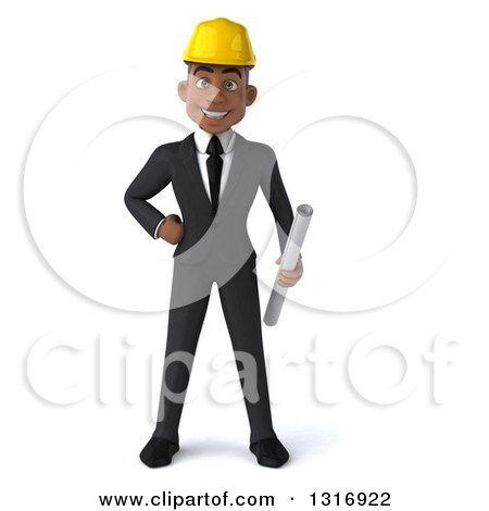 Clipart of a 3d Young Black Male Architect Holding Plans, with One Hand on His Hip - Royalty Free Illustration by Julos