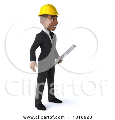 Clipart of a 3d Young Black Male Architect Holding Plans, Facing Right - Royalty Free Illustration by Julos