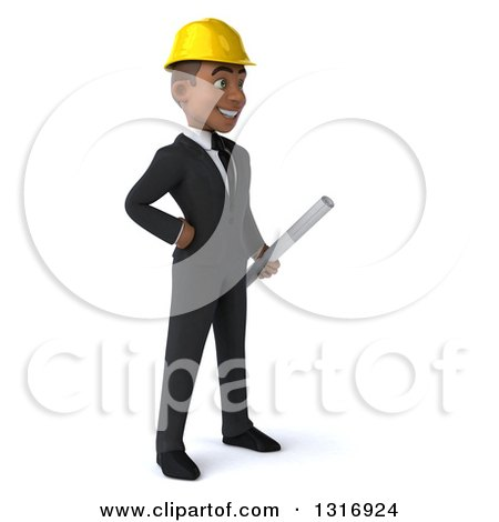 Clipart of a 3d Young Black Male Architect Holding Plans, Facing Right, with One Hand on His Hip - Royalty Free Illustration by Julos