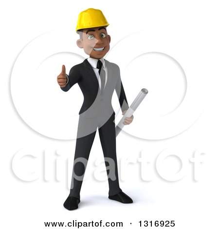 Clipart of a 3d Young Black Male Architect Giving a Thumb up and Holding Plans - Royalty Free Illustration by Julos
