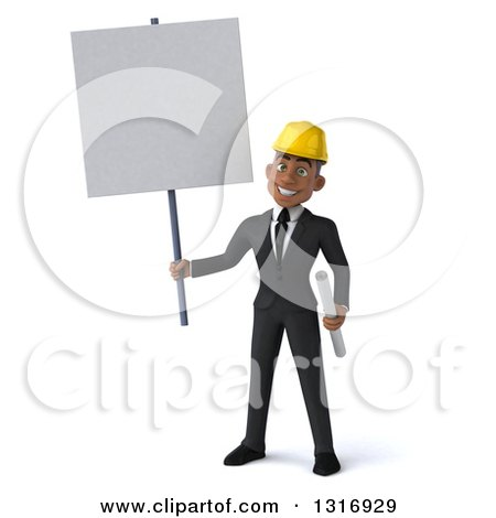 Clipart of a 3d Young Black Male Architect Holding Plans and a Blank Sign - Royalty Free Illustration by Julos
