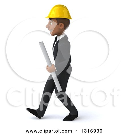 Clipart of a 3d Young Black Male Architect Holding Plans, Walking to the Left - Royalty Free Illustration by Julos