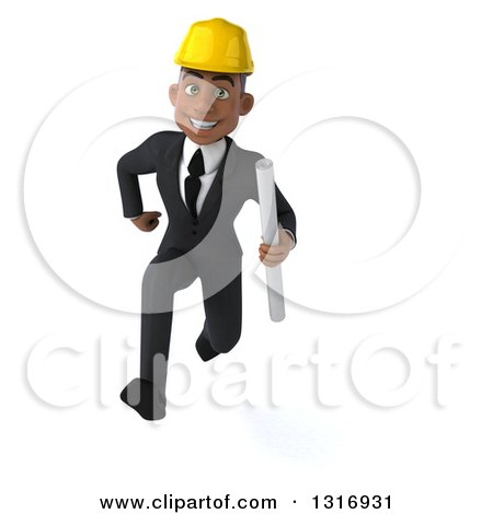 Clipart of a 3d Young Black Male Architect Holding Plans and Sprinting - Royalty Free Illustration by Julos