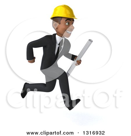 Clipart of a 3d Young Black Male Architect Holding Plans and Sprinting to the Right - Royalty Free Illustration by Julos