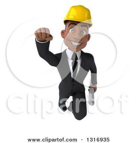 Clipart of a 3d Young Black Male Architect Holding Plans and Flying - Royalty Free Illustration by Julos