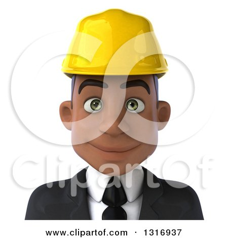 Clipart of a 3d Avatar of a Young Black Male Architect - Royalty Free Illustration by Julos