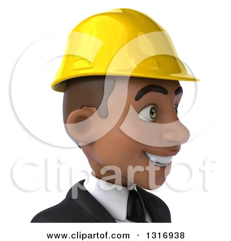 Clipart of a 3d Avatar of a Young Black Male Architect Facing Right - Royalty Free Illustration by Julos