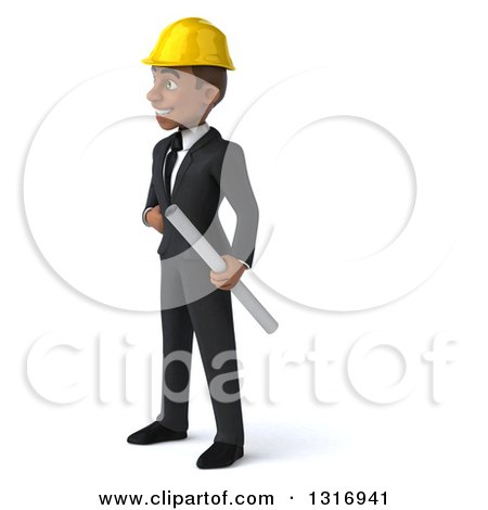 Clipart of a 3d Young Black Male Architect Holding Plans, Facing Left, with One Hand on His Hip - Royalty Free Illustration by Julos