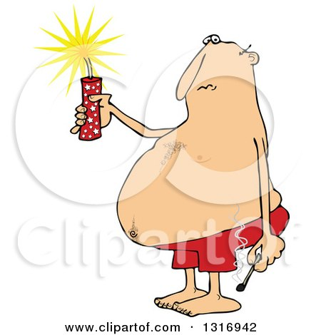 Clipart of a Cartoon Fat White Man in Swim Shorts, Holding a Firecracker and Match - Royalty Free Vector Illustration by djart