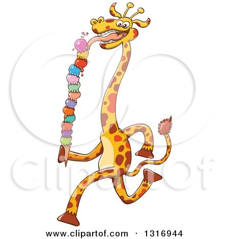 Clipart of a Cartoon Giraffe Running and Licking a Giant Waffle Ice Cream Cone - Royalty Free Vector Illustration by Zooco