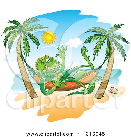 Clipart of a Cartoon Relaxed Iguana Lizard Waving Drinking Iced Tea in a Hammock on a Tropical Beach - Royalty Free Vector Illustration by Zooco