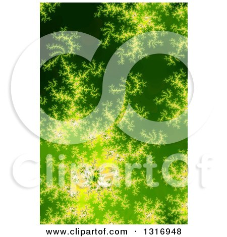 Clipart of a Glowing Green Fractal Spiral Background - Royalty Free Illustration by oboy