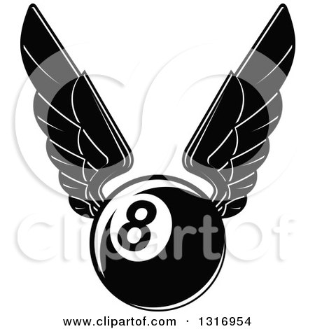 Clipart of a Black and White Winged Billiards Eightball - Royalty Free Vector Illustration by Vector Tradition SM
