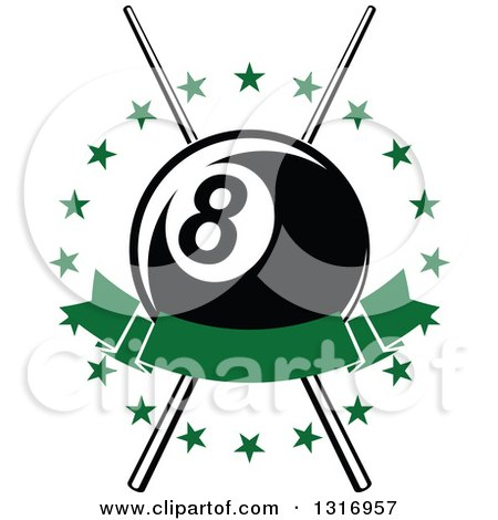 Clipart of a Billiards Pool Eightball over Crossed Cue Sticks in a Circle of Stars with a Blank Green Banner - Royalty Free Vector Illustration by Vector Tradition SM