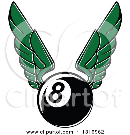 Clipart of a Winged Billiards Eightball - Royalty Free Vector Illustration by Vector Tradition SM