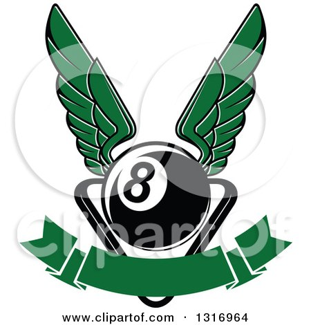 Clipart of a Winged Billiards Eightball over a Rack and Blank Banner - Royalty Free Vector Illustration by Vector Tradition SM