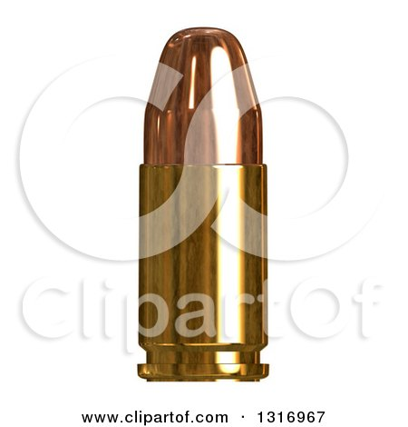 Clipart of a 3d Copper Bullet on White - Royalty Free Illustration by Arena Creative