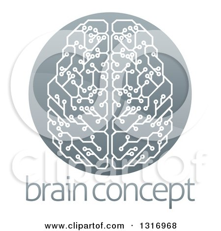 Clipart of a Shiny Circuit Board Artificial Intelligence Computer Chip Brain in a Circle over Sample Text - Royalty Free Vector Illustration by AtStockIllustration