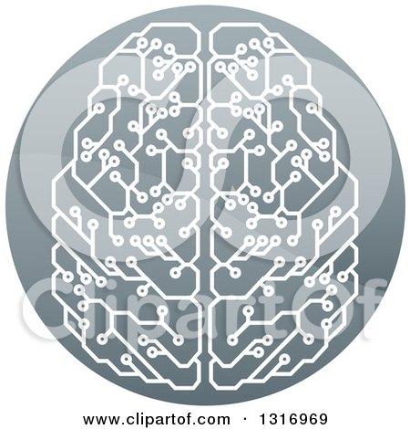 Clipart of a Shiny Circuit Board Artificial Intelligence Computer Chip Brain in a Circle - Royalty Free Vector Illustration by AtStockIllustration