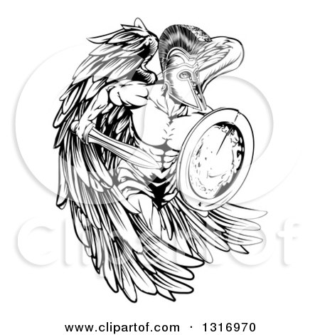 Clipart of a Black and White Spartan Trojan Warrior Angel Running with a Sword and Shield - Royalty Free Vector Illustration by AtStockIllustration