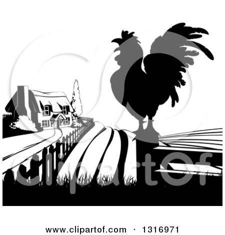 Clipart of a Black and White Farm House, Silhouetted Crowing Rooster and Fields - Royalty Free Vector Illustration by AtStockIllustration